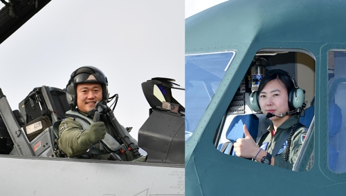 공군 비행대장 부부 김동우 소령(왼쪽)과 이인선 소령(오른쪽) / 사진=연합뉴스