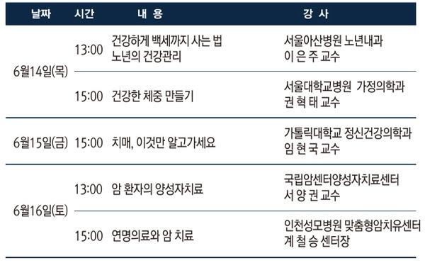 제 9회 MBN 건강박람회 건강강좌 일정
