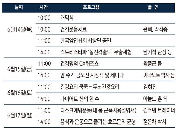 제 9회 MBN 건강박람회 부대행사 일정