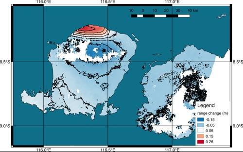 미국 항공우주국(NASA)과 캘리포니아공과대(CIT) 연구진이 공개한 롬복섬의 위성영상 분석 결과. 북쪽지역 지반이 최대 25㎝가량 들려올려져 있다/사진=연합뉴스