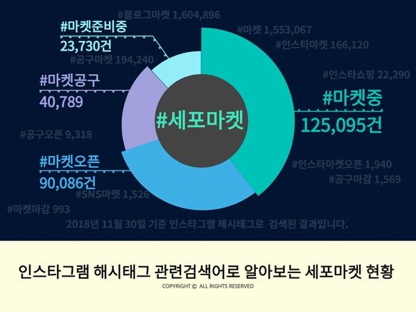 2018년 11월 30일 기준 소규모 SNS 마켓 관련 인스타그램 해시태그 현황/출처=직접 제작