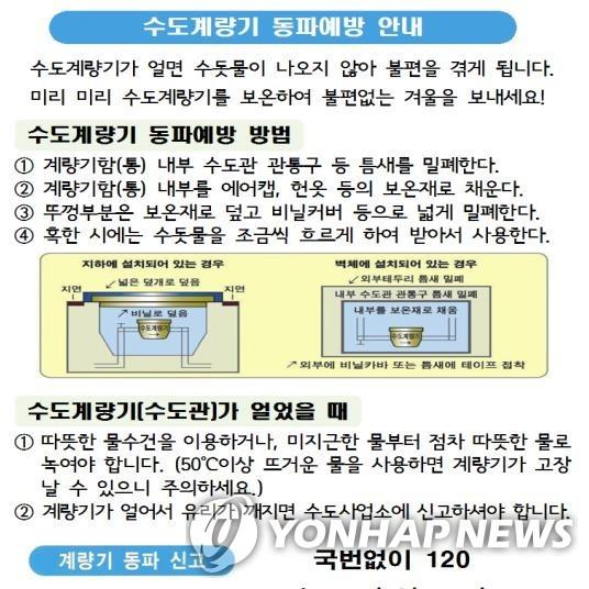 수도계량기 동파예방 안내/사진=연합뉴스