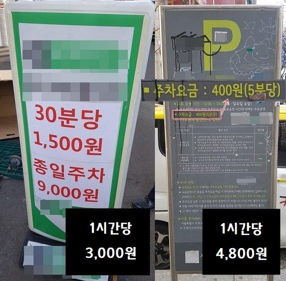 마포구의 한 사설주차장과 공영주차장 주차 요금 비교/사진=MBN