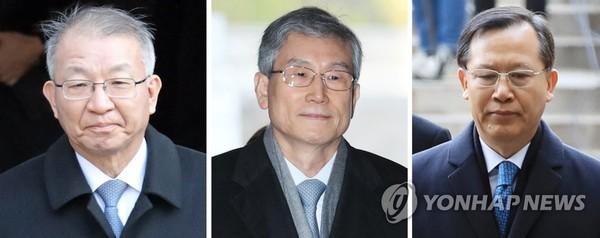 양승태 전 대법원장, 고영한·박병대 전 대법관 /사진=연합뉴스