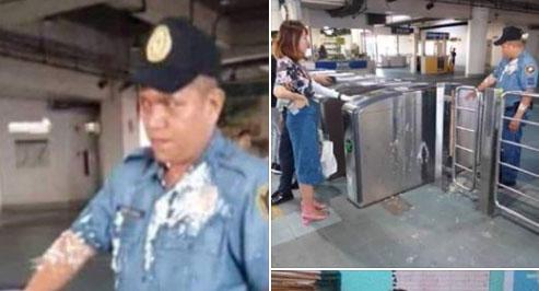 음료반입 제지하는 경찰관에 푸딩 세례 /사진=뉴스5 페이스북 캡처