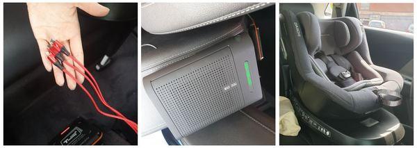 '웨이고 레이디'에 있는 특별한 3가지. (왼쪽부터) 휴대폰 충전기, 공기청정기, 카시트 /사진=MBN 온라인뉴스팀