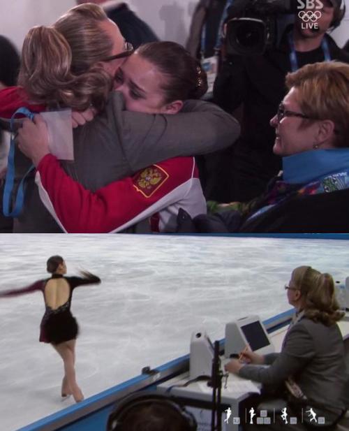 아델리나 소트니코바(러시아)가 '편파판정'으로 금메달 획득했다는 논란에 휩싸인 가운데 심판진이었던 알라 셰코프세바와 얼싸안은 장면이 포착됐다. 사진=SBS 방송캡처