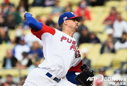 푸에르토리코 선발 조지 로페즈는 3회를 넘기지 못했다.  사진(美 로스앤젤레스)=ⓒAFPBBNews = News1