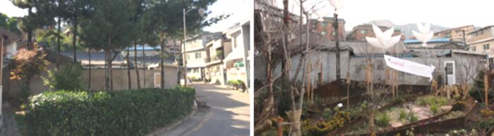 종로구 옥인동 145-2 일대 동네숲(골목길) 조성 전(왼쪽), 후 모습<br />