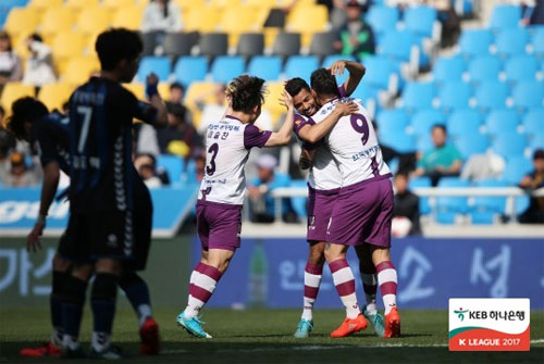 """전남드래곤즈가 4월의 가장 """"팬 테이스틱(FAN-TASTIC)""""한 팀으로 나타났다. 사진=한국프로축구연맹 제공"""