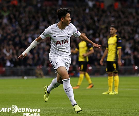 손흥민이 도르트문트와의 2017-18 UEFA 챔피언스리그 H조 1차전 득점 후 기뻐하고 있다. 사진=AFPBBNews=News1