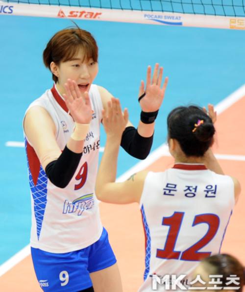 박정아(좌)가 김연경 등 주력이 대거 빠진 VNL 일정에서 활약하고 있다. 정규시즌 당시 모습. 사진=MK스포츠 DB