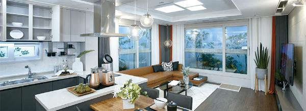 15일 견본주택을 개관하는 `삼송 더샵`의 전용 75㎡ 주택형 유닛 내부 모습. [사진 제공 = 포스코건설]