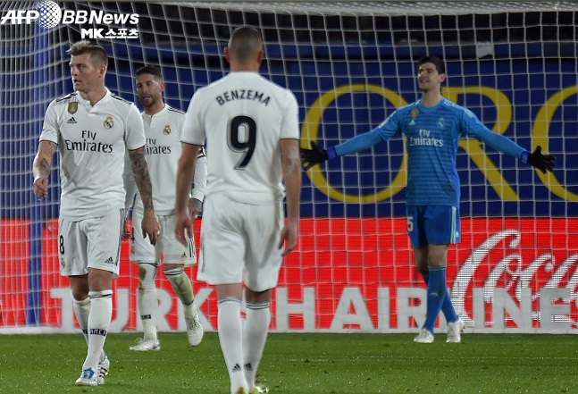 레알마드리드 골키퍼 이하 선수들이 비야레알 원정 실점 후 의기소침한 모습. 사진(스페인 비야레알)=AFPBBNews=News1