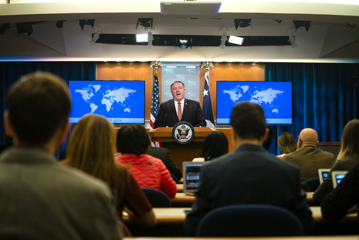 epa07439693 US Secretary of State Mike Pompeo speaks to the media about the International Criminal C...