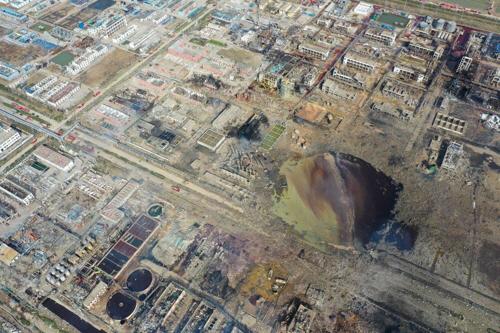 화학공장 폭발사고가 발생한 장쑤성 한 도시 지역. [사진출처 = 사우스차이나모닝포스트 캡처]