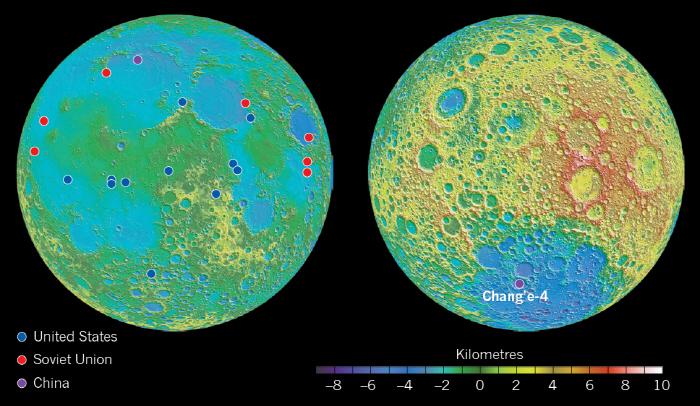 달의 앞면(왼쪽)과 지구에서 보이지 않는 달의 뒷면(오른쪽)의 지형도. 색상은 높이를 나타낸다. 파란색으로 표시된 영역이 큰 충돌이 일어난 대형 크레이터(구덩이)로 깊게 패여 있는...