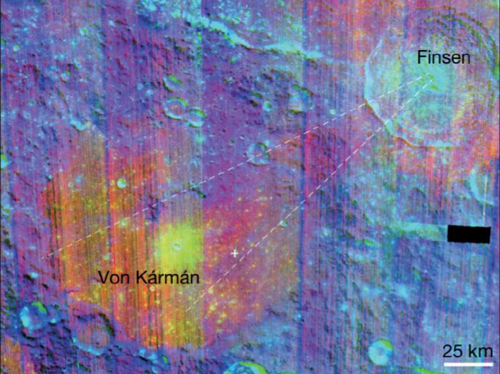 중국의 '창어 4호' 임무를 통해 달 뒷면 남극 에이트켄 분지의 본 카르만 크레이터(왼쪽 아래)와 핀센 크레이터(오른쪽 위) 인근 표면을 '가시광선 및 근적외선 분광계(VNIS)'...