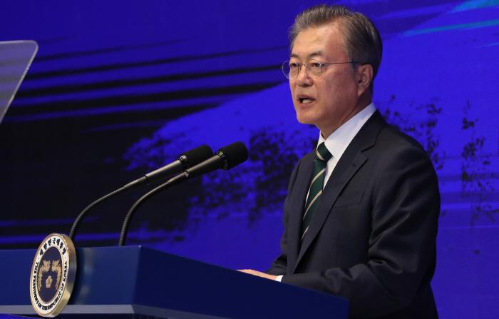 문 대통령, 중소기업인대회 축사. [사진 출처 = 연합뉴스]