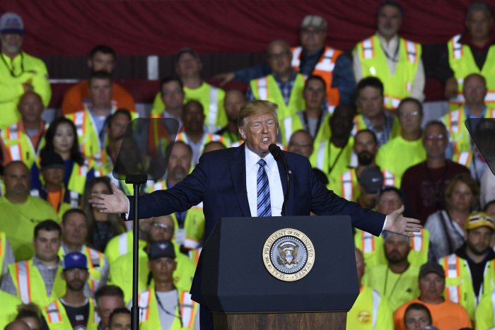President Donald Trump speaks at Shell's Pennsylvania Petrochemicals Complex on Tuesday, Aug. 13, 20...
