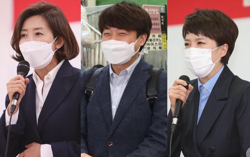 (왼쪽부터) 나경원 전 의원, 이준석 전 최고위원, 김은혜 의원 / 사진=연합뉴스