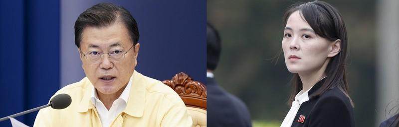 문재인 대통령(왼쪽)과 김여정 북한 노동당 중앙위원회 부부장(오른쪽) / 사진 = 청와대 제공, 매일경제